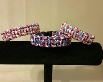 America Paracord Bracelets, American Flag, Red, White, and Blue Muticolor Paracord