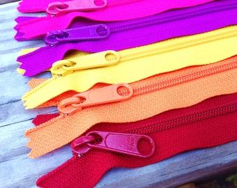 22 inch YKK zippers, long pull, Five pcs, brights, red, orange, sunflower, purple fuchsia, hot pink, YKK colors 519, 849, 506, 299, 516