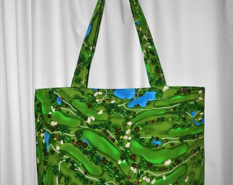 TOTE BAG Golf Course Print Market Tote and Shopper Bag Purse or hand bag Made in Maine