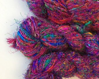 Recycled Silk Yarn, Multicolor, Heavy Worsted, Bulky, Handspun, 3.5 oz / 100 grams, 50 yards, Upcycled, Knit, Crochet, Weave, Bright, Fuzzy,