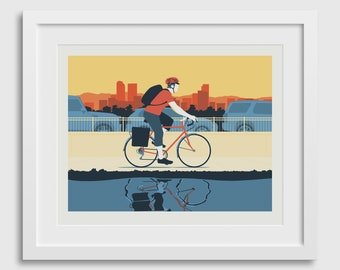 Bicycle Art Poster • Morning City Bike Ride Commuter in Denver Colorado Fine Art Print Gift Decor Limited Edition Travel Outdoors Path