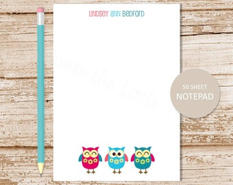 owl personalized notepad . owl notepad . owls note pad . owl trio . personalized stationery . bird stationary