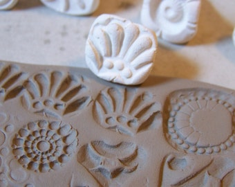 Handmade Clay Stamps- Textural Stamp- Pattern Tool-  for pottery, polymer, PMC, play doh, fondant and more- *PLEASE read listing description