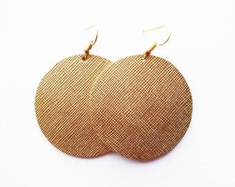 Gold Leather Earrings / Large Earring / Small Earring / Statement Earring / Round Earring / Metallic / Lightweight / Modern / Saffiano