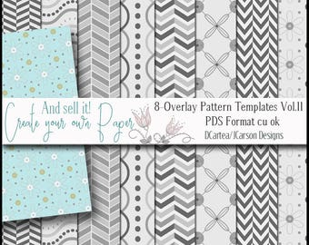 Overlay Paper Templates, digital pattern overlays, paper layered templates, floral pattern overlays. digital paper, download, pds, cu