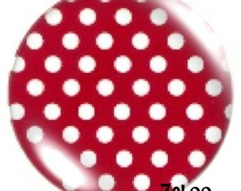 1 cabochon 30mm glass, Garnet polka dots