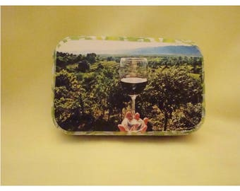 Altoids tin, decorated, wine tasting, magnets