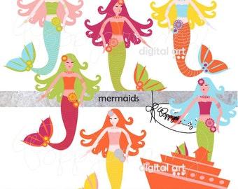 Mermaids: Digital Scrapbook Paper & Clipart Set (300 dpi) Sea Ship Waves Birds Sun Clipart