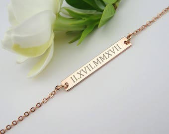Roman Numeral Bar Necklace, Custom Date Necklace, Personalized necklace, Gift for Her, Engraved Necklace, Gift Idea for Wife, VicJewelry