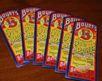 Boyer & Co. - Boot Polish Labels 8 cents - (6) - ephemera for - collecting - scrapbooking - altered art
