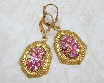 Pink Opal Earrings Pink Fire Opal Earrings Coral Pink Vintage Glass Jewels Victorian Shabby Chic Jewelry Gift
