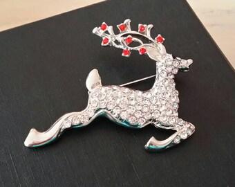 Diamante Reindeer Brooch