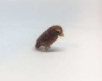 Tiny woodpecker, needle felted miniature bird soft sculpture, by Little Bea Studio