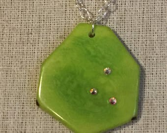 Sterling silver with tagua pendant and swarovski  crystals