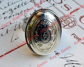 Einstellbare ovalen Medaillon Ring, Silber, Muttertag, Geburtstag, Geschenk für Sie