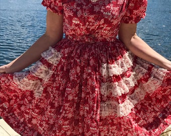 Vintage Square Dance Western Red and White Cowgirl Dress With Full Skirt and Lace Costume Dress Party Dress
