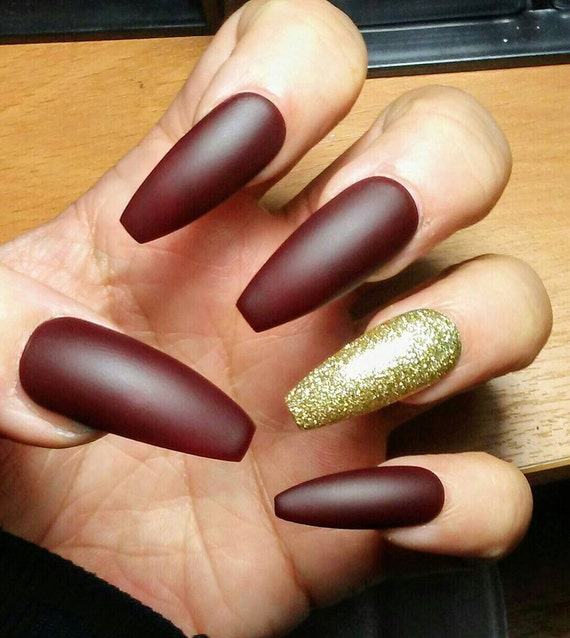 Long Matte Coffin Nails Burgundy Maroon & Gold Glitter Red
