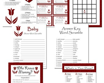 6 Red Polka Dots Flower Theme Baby Shower Games Instant Download