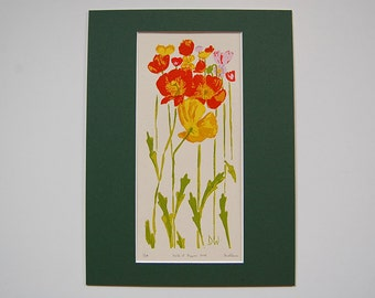 Field of Poppies – 9 color Letterpress Print on French Speckletone Paper, Item No. 183.04