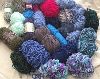 Yarn Destash Blues and Colorful Fun Yarn