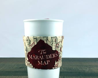 Marauders Map Coffee Cup Sleeve - Reusable Cup Sleeve - Coffee Sleeve - Harry Potter Gift - Coffee Lover Gift - Harry Potter Coffee Cup Cozy