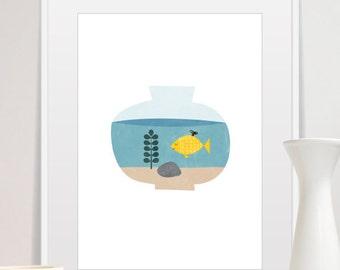 Fish Print, Nursery Wall Art, Mid Century Modern Art, Nursery Art Decor, Goldfish Print, Aquarium Illustration, nursery decor, fish decor