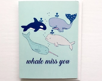 Whale Miss You Card - Punny Whale Card, Whales Print, Whale Art, Orca and Beluga Whales