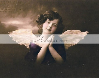 Little Angel Victorian Antique Postcard - Instant Art Printable Download - Antique Shabby Chic  - Scrapbooking Paper Crafts Altered Art