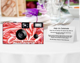 1 camera-Candy Canes Holiday Disposable Cameras--Merry Christmas, Happy Holidays, Seasons Greetings, disposable cameras, single use