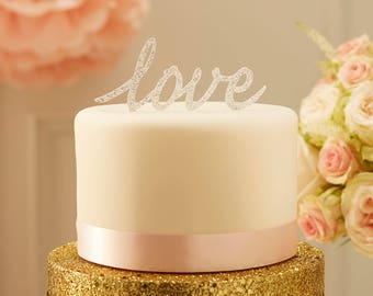 Silver 'Love' Cake Topper, Wedding Cake Decoration, Love Cake Topper, Baby Shower, Christening, Anniversary, Cake Decoarations, Crafts, Love