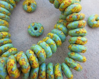 Green & Yellow Fused Ghana Glass Disk Beads (14x5mm) [68396]