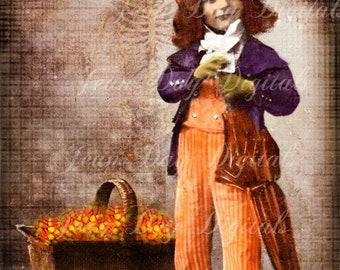 "Halloween - Candy ""Dandy"" - Altered French Postcard Scan, Antique photo Instant Digital Download DH030"
