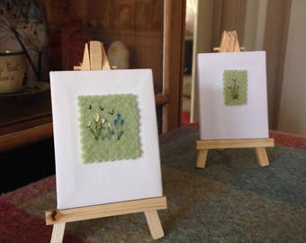 Miniature Embroidery on canvas and easel  FJ300