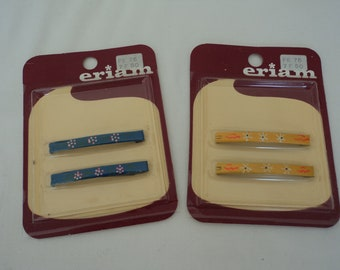 Pair of French vintage 80's hair barrettes in original packaging