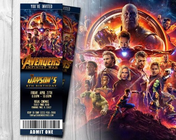 Avengers infinity war movie ticket invitation avengers stopboris Choice Image