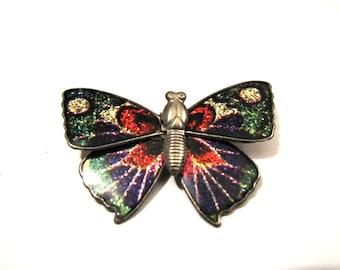 Vintage Rainbow Glitter Enameled Butterfly Pin Brooch