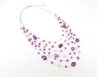 Purple freshwater pearl necklace with crystal, glass pearl on silk thread, multistrands, purple necklace