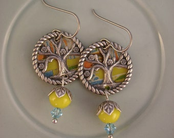 Tree of Life - Vintage Hand Cut Recycled Tin Yellow and Blue Tree of Life Charms Repurposed Upcycled Jewelry Earrings 10th Anniversary Gift