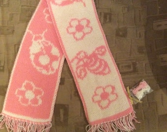 Knit scarf Flowers and Bees baby gift