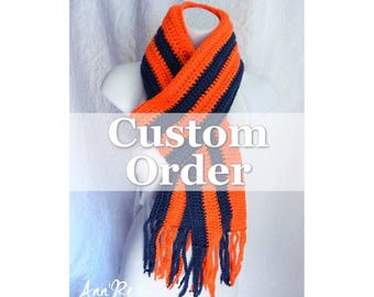 Crochet Scarf - Choose Your Favorite Colors!  Sports Teams, Fan Scarf, School Colors, Sports Fan, Homecoming, Football