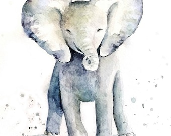 Baby Elephant Art, Original Art, Original Painting, Elephant Painting, Elephant Watercolor, Elephant Illustration, Baby Elephant Gift
