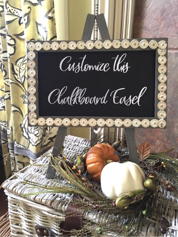 Chalkboard on Easel w/Custom Hand Lettering / Calligraphy / Metal Trim Choices in White or Silver