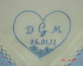 Wedding handkerchief/something blue /heart/initials and dated/hand embroidered