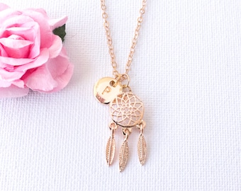 Gold dreamcatcher necklace, dreamcatcher necklace, beach jewellery, summer jewelry, Best Friends, Gift Idea, sisters necklace,  GDCIN0117