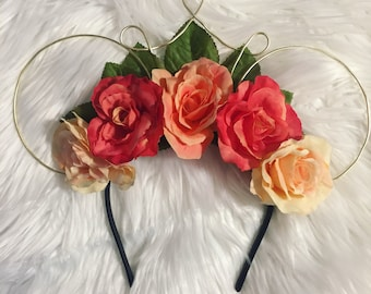 Peach and gold floral wire Minnie Mouse Ears