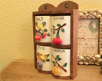 Old Spice Rack with Fruit Motif and Wooden Shelf Salt Pepper Shakers