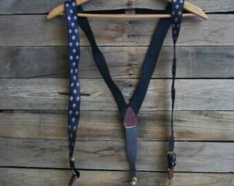 Vintage Black & Blue Diamond Patterned Suspenders