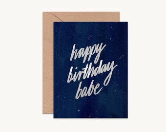Happy birthday babe, Birthday card for boyfriend, husband birthday card, birthday card for babe, modern birthday card, happy birthday card