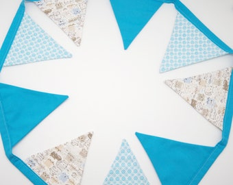 Garland flags in blue fabric, available!