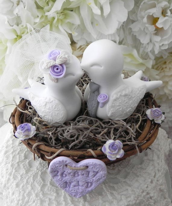 Love Bird Wedding Cake Topper, White, Lilac and Gray, Bride and Groom Keepsake, Personalized Heart, Custom Colors Available